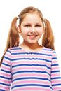 Happy smiling years old girl ponytails isolated white Stock Photography