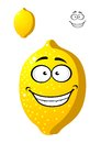 Happy smiling yellow cartoon lemon fruit with a wide toothy grin plus a second variation with no face for agriculture or food Royalty Free Stock Photography