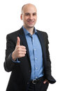 Happy smiling young business man with thumbs up gesture isolated over white background Royalty Free Stock Images