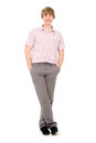 Happy smiling young man standing full length isolated on white background Royalty Free Stock Photos