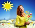 Happy smiling young woman on cartoon background with bouquet of flowers sunny Royalty Free Stock Image