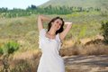 Happy smiling young woman enjoying nature Royalty Free Stock Photo