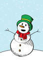 Happy snow man sketch Stock Image