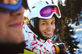 Happy snowboarding girls in winter mountains Stock Photos