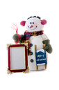 Happy snowman with a blank picture frame cute to insert photo or text isolated on white Royalty Free Stock Image
