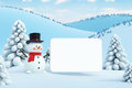 Happy snowman with blank poster and white Stock Photo