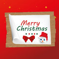 Happy snowman in card a a christmas red background Royalty Free Stock Photography