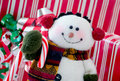 Happy snowman close up a cute with a candy cane and a smile Stock Photo