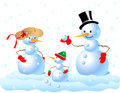 Happy Snowman Family Royalty Free Stock Image
