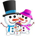 Happy snowman family illustration featuring a wearing scarf top hat isolated on white background eps file is available Stock Images