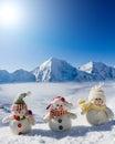 Happy snowman friends Stock Photo