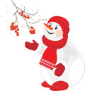 A happy snowman with rowan branch Stock Photos