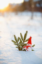Happy snowman standing in winter christmas landscape.Snow background Royalty Free Stock Photo