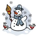 Happy snowman with two little birds colorful illus illustration isolated on white background winter holidays card centerpiece Royalty Free Stock Photography