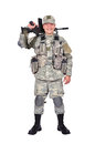 Happy soldier with assault rifle on white background Stock Photography