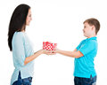 Happy son giving a gift to his mother isolated on white Stock Photo