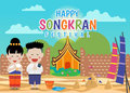 Happy Songkran festival - Thai boy and Thai girl respect hands and in Sand pagodas At the temple Chiangmai Thailand design