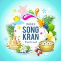 Happy Songkran festival Thailand beautiful design background Royalty Free Stock Photo