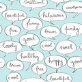 Happy speech bubbles pattern over vintage blue hand drawn illustration of a cartoon style pop art background Royalty Free Stock Image