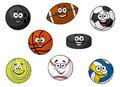 Happy sporting balls and equipment cartoon illustration of a set of with tennis soccer rugby football cricket volleyball an Stock Image