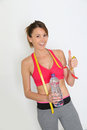 Happy sportive running girl succeeding diet Royalty Free Stock Photo