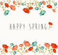 Happy spring flower composition springtime greeting card with colorful flowers eps vector file organized in layers for easy Stock Image