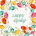 Happy spring flower greeting card springtime with colorful flowers composition eps vector file organized in layers for easy Stock Photography