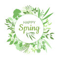 Happy Spring green card design with text in round floral frame Royalty Free Stock Photo
