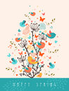 Happy Spring greeting card illustration