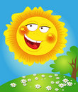 Happy spring sun smiles and lights up Royalty Free Stock Photo