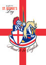 Happy St George Day Proud to Be English Retro Poster Royalty Free Stock Photo