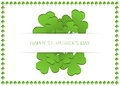 Happy st patrick s day card with shamrocks in shamrock frame Royalty Free Stock Images