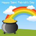 Happy St. Patrick s Pot of Gold Stock Photos