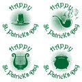 Happy St. Patricks Day green icons set