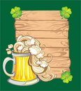 Happy st patricks day greeting banners card with beer and lucky clover Royalty Free Stock Images