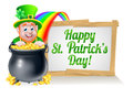 Happy St Patricks Day Leprechaun Sign