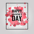Happy St. Valentine's Day! Abstract background with ribbon and flying snowflakes and hearts to the Day of St. Valentine.