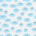 Happy star cloud blue pink pastel seamless pattern