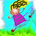 Happy stick girl running digitally painted little through the grass Royalty Free Stock Image