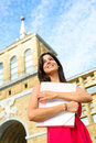 Happy student in european college female campus higher education successful woman universidad laboral gijon asturias spain girl on Royalty Free Stock Photo