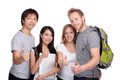 Happy student and friends group thumb up isolated on white background asian caucasian Stock Images