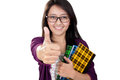 Happy student thumbs up asian girl giving thumb to camera isolated on white background Royalty Free Stock Images