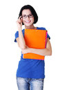 Happy student woman with notebooks Royalty Free Stock Image
