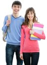 Happy students young teenager standing and smiling with books and bags Royalty Free Stock Images