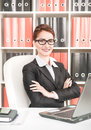 Happy successful business woman at office Stock Photo