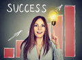 Happy successful woman pointing up at growing chart and light bulb