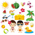 Happy summer colorful cartoon graphics related to Royalty Free Stock Photography
