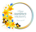 Happy Summer Holidays banner with flowers and butterflies. Royalty Free Stock Photo