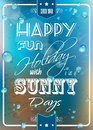 Happy summer poster with a colorful background different typing styles and grunge water drops effect and vintage retro framing Royalty Free Stock Photo