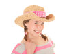 Happy summer smiling kid in sun hat Royalty Free Stock Photography